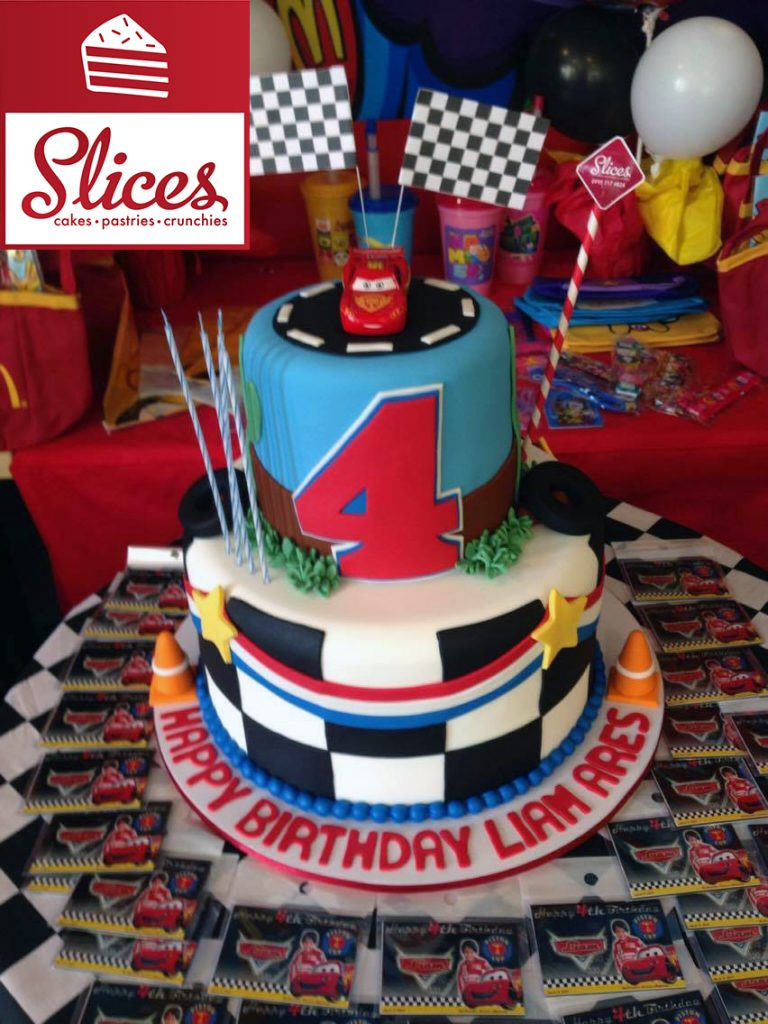 2 layered Cars themed fondant cake manila by Slices