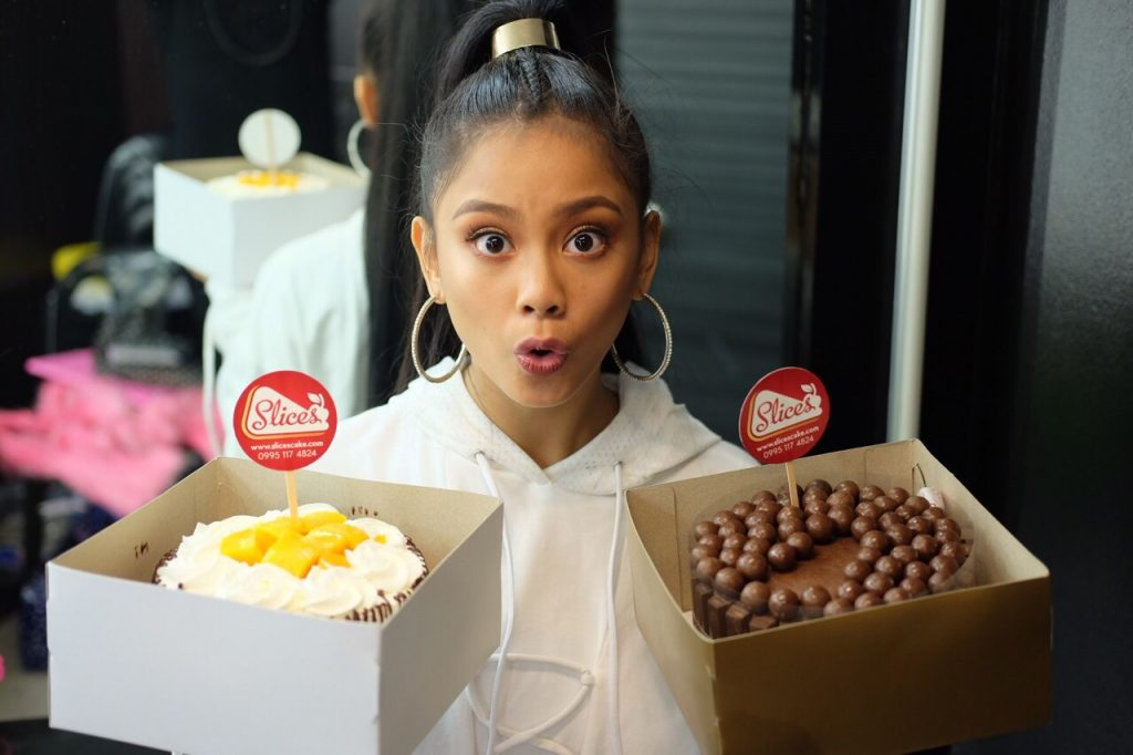 ylona garcia for kitchoc maltesers and mango ole by slices cake